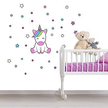 Einhorn Wandtattoo Kinderzimmer 33 Teile - Wandsticker Set - Pink  Regenbogen Aufkleber zum Kleben für Babyzimmer, Wandaufkleber Dekoration,  Wanddeko, ...