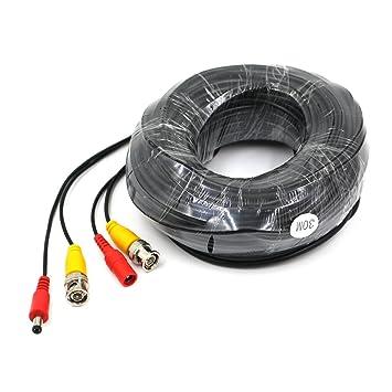 opo de vídeo BNC y de alimentación de CC Cable de extensión/plomo con Conector para cámara de vigilancia Cámaras/CCTV Seguridad Conector 30 m: Amazon.es: ...