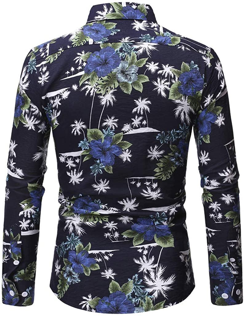 F/_Gotal Mens T-Shirts Fashion Summer Long Sleeve Hawaii Print Button Quick Dry Casual Tee Blouse Tops Shirt for Men