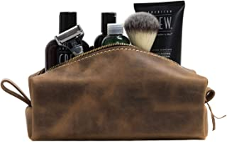 product image for SAN TAN Handmade Genuine Leather Toiletry Bag Travel Dopp Kit ~ Made in the USA (Small, Desert Sand)