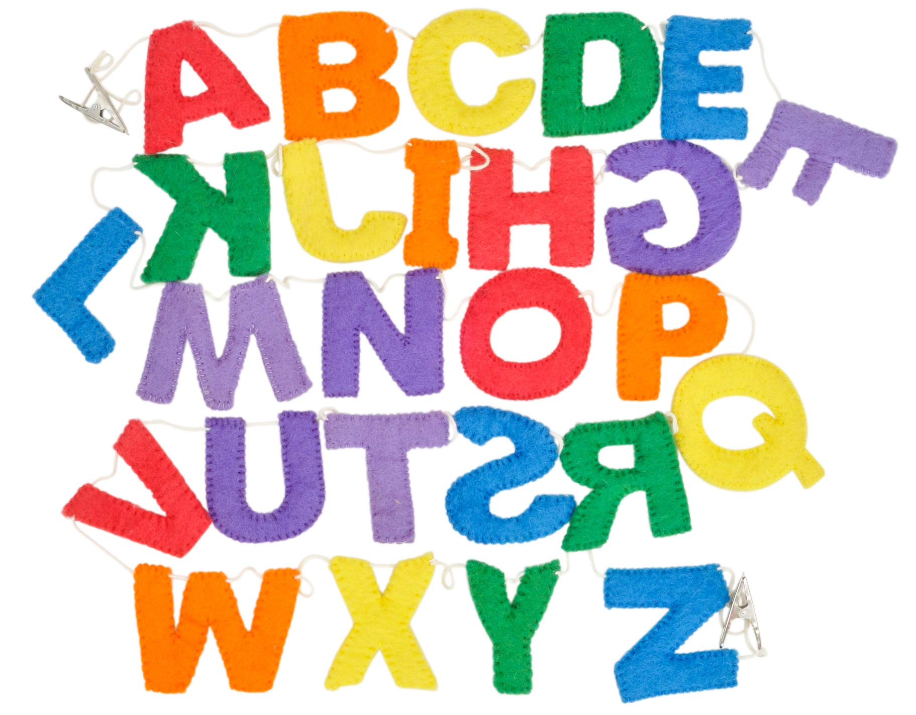 Handmade Wool Felt Alphabet Garland, Upper Case, Rainbow Colors, Great for Toddlers Learning Letters and Colors, School Room Decorations, or Play Room Decor