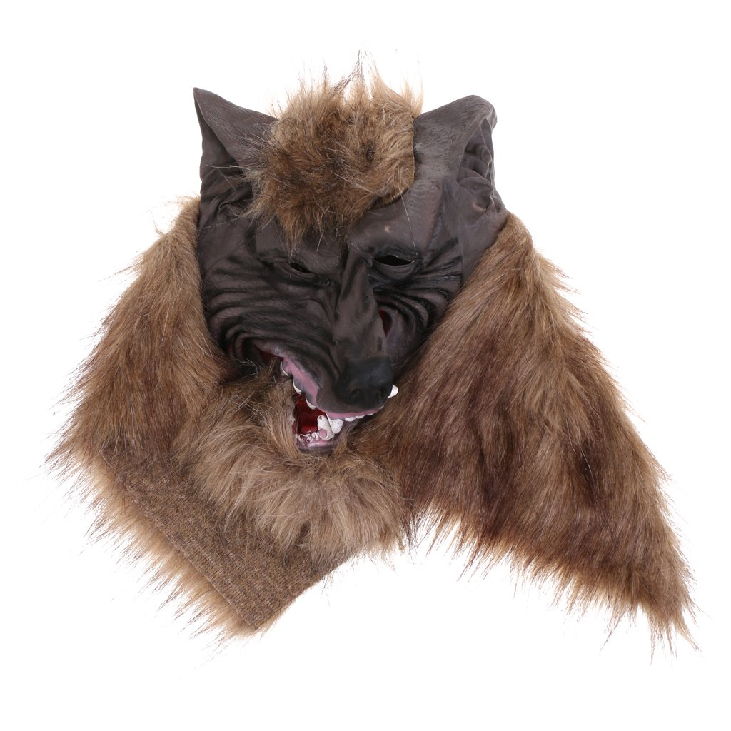 Jili Online Halloween Creepy Latex Full Head Overhead Animal Head Mask Howling Brown Wolf Masquerade Fancy Dress Costume Mask by Jili Online (Image #7)