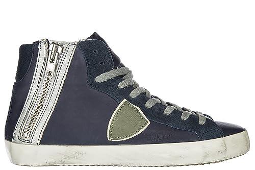 f8c840c7ff36 Philippe Model Herrenschuhe Herren Leder Schuhe High Sneakers Bike u Vintage  Blu EU 42 BIHU CL02