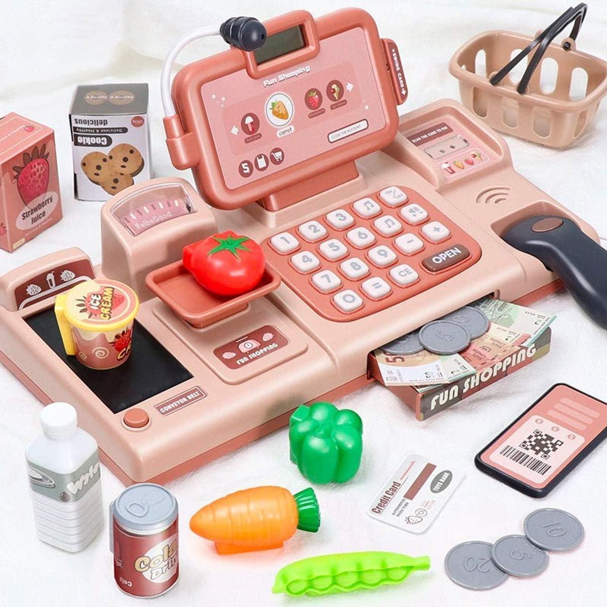 BeebeeRun 25 Piezas Caja Registradora Juguetes Supermercado,Caja Registradora Juguetes Supermercado Compras Electrónica Educativos para Niños Niñas (Rosado)