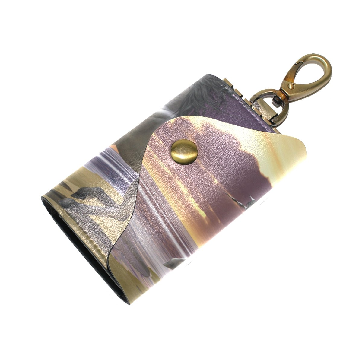 KEAKIA Playing Unicorns Leather Key Case Wallets Tri-fold Key Holder Keychains with 6 Hooks 2 Slot Snap Closure for Men Women