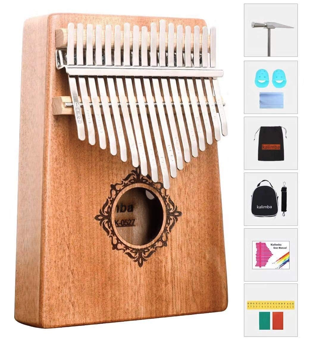 RMK Kalimba 17 Keys Thumb Piano Finger Piano Hand Piano Solid Mahogany Wood Body with Tune Hammer Finger Sleeve Cloth, two bags,English Manual,Tune Stickers and Color Stickers