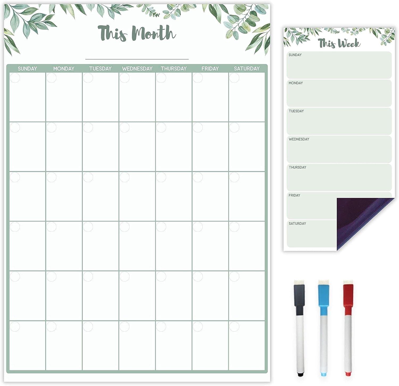 Vertical Magnetic Calendar for Refrigerator - Green Leaf | Set of 2 Magnetic Dry Erase Board: Monthly Magnetic Fridge Calendar 12 x 17 Inch, Weekly Fridge Magnetic Menu Planner 5 x 10 Inch