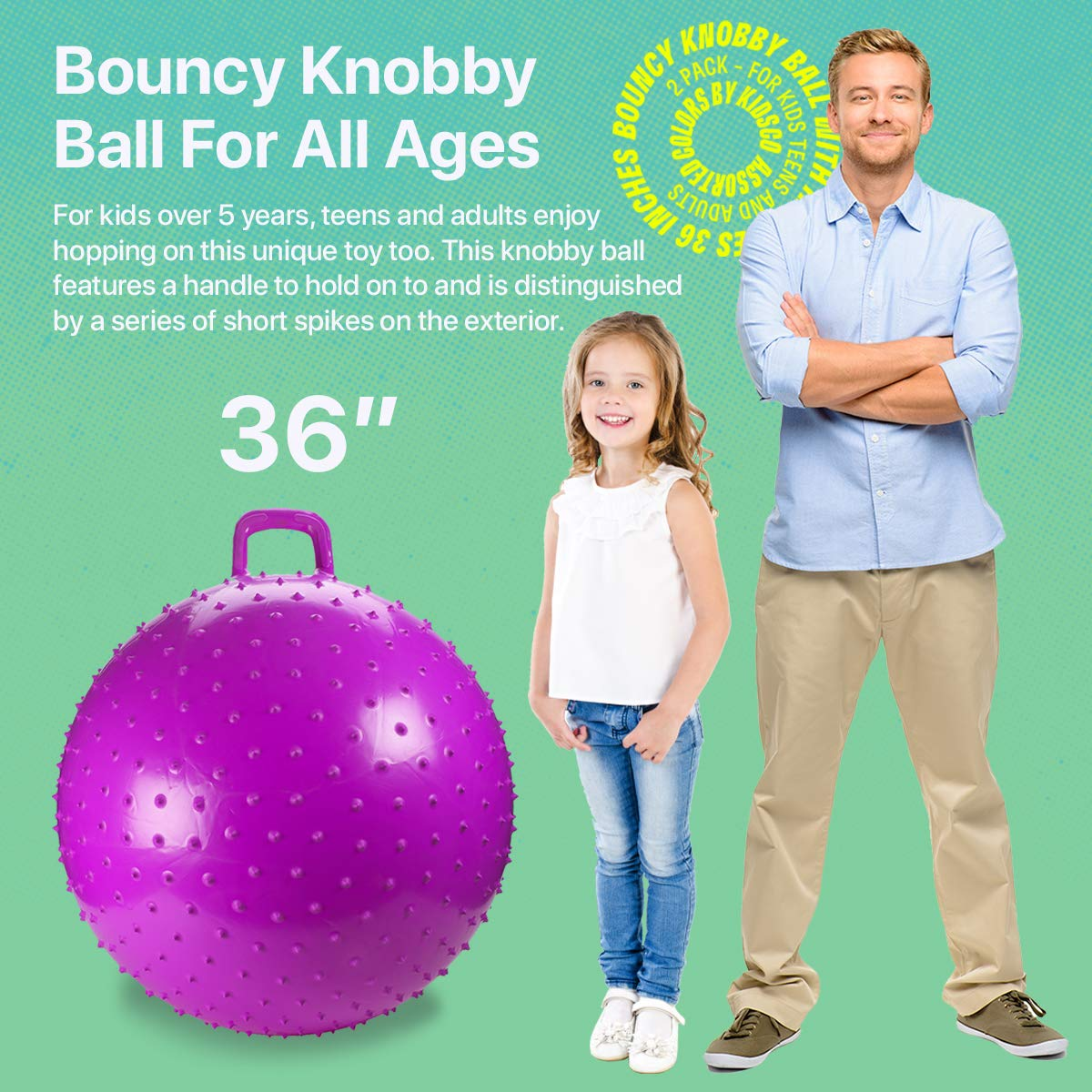 Kicko Bouncy Knobby Ball with Handles 36 Inches - 2 Pack - for Teens and Adults - Assorted Colors, Colors May Vary, Sold Deflated by Kicko (Image #2)