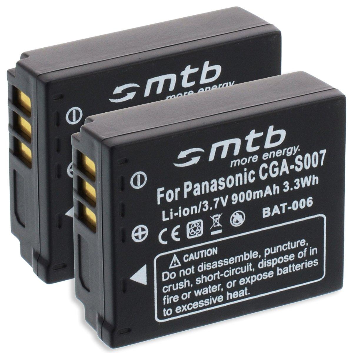 TZ50 TZ15 TZ11 2X Bater/ía CGA-S007//DMW-BCD10 para Panasonic Lumix DMC-TZ5