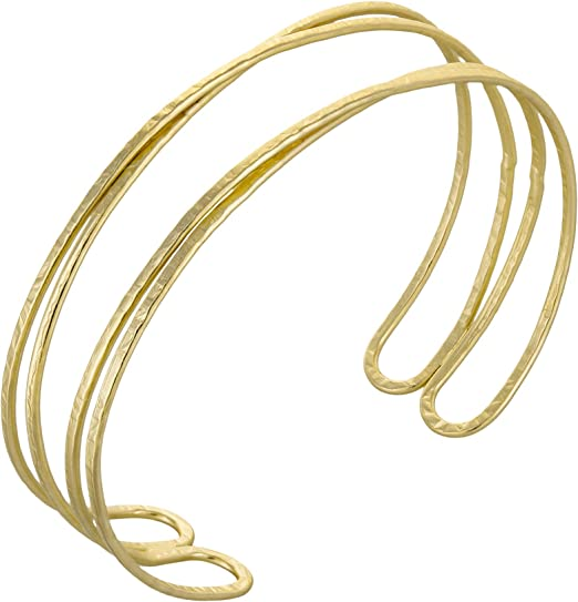 Silver Yueton Silvertone Rigid Steel Memory Wire Metal Circle Split Ring Coil Wire Thin Jewelry Hammered Bunch Cuff Bracelet Bangle