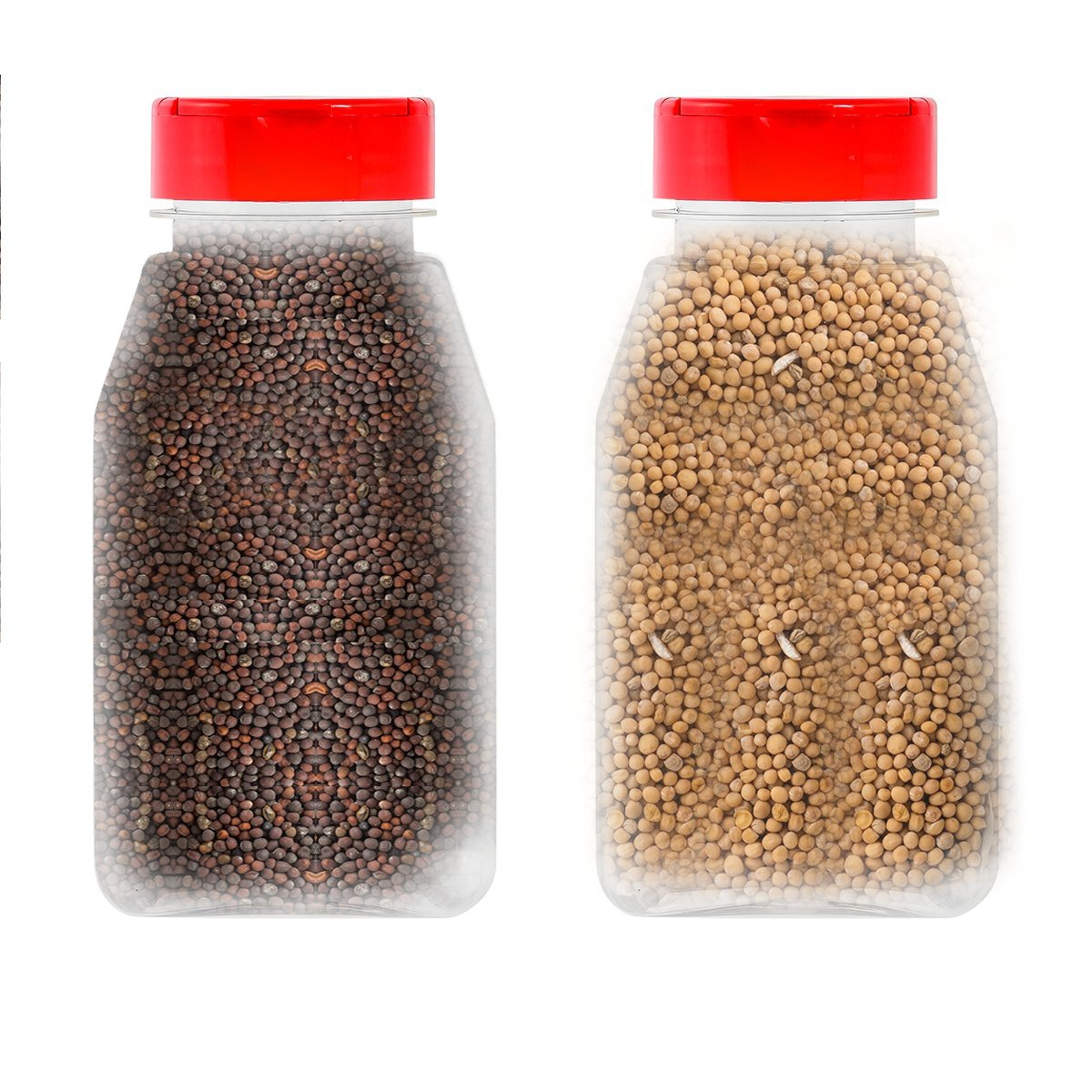 LARGE 16OZ CLEAR PLASTIC SPICE CONTAINERS BOTTLE JARS - FLAPPER CAP TO POUR OR SIFTER SHAKER. USED TO STORE SPICES, HERBSAND IS REFILLABLE-BPA FREE (6, red caps)