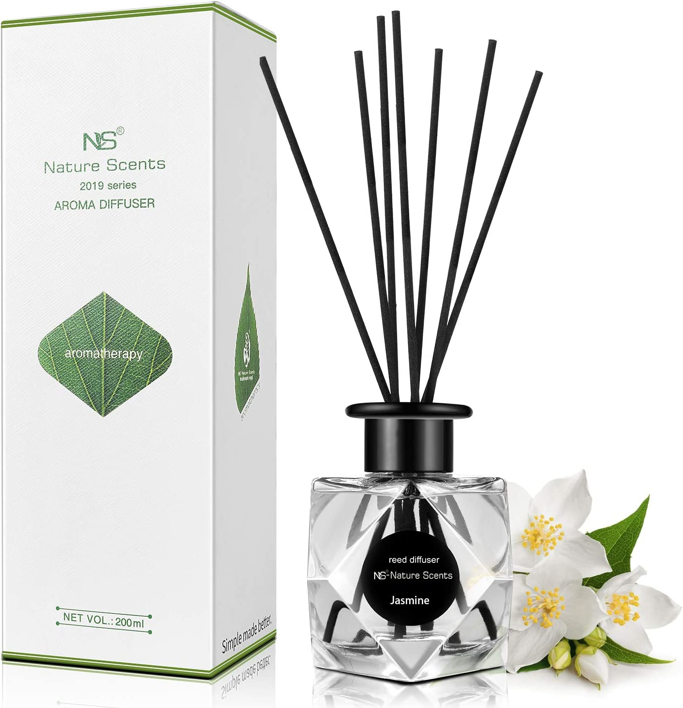 ap airpleasure Natural Reed Diffuser Set, Home Fragrance & Purify Air, Room Freshener Aromatherapy Essential Oil Reed Diffuser for Gift & Stress Relief 200ml / 6.76 oz (Jasmine)