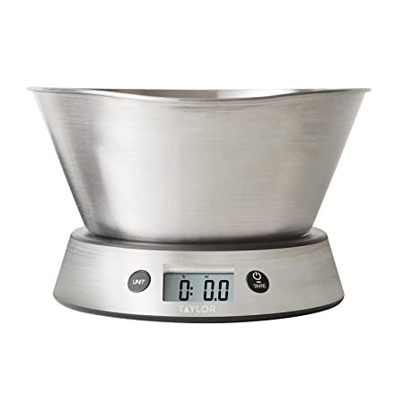 Amazon.com: Taylor Weighing Bowl Digital Kitchen Scale, 11 Lb. Capacity:  Kitchen U0026 Dining