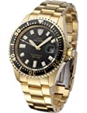 Detomaso Men's DT1025-C San Remo Divers Classic Schwarz/Gold Analog Display Japanese Automatic Gold Watch