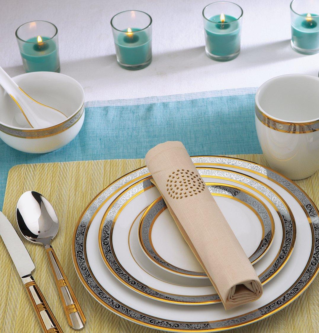 Buy Alda Porcelain Dinner Crockery Set(Gold Platinum) - Piece of 33 ...