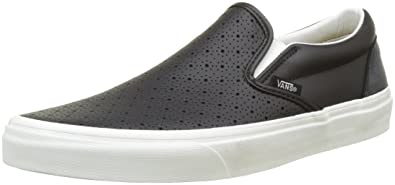 Vans U Classic Slip-on Perf Leather, Unisex-Erwachsene Sneakers, Schwarz ((Perf Leather) Black/Black), 39 EU