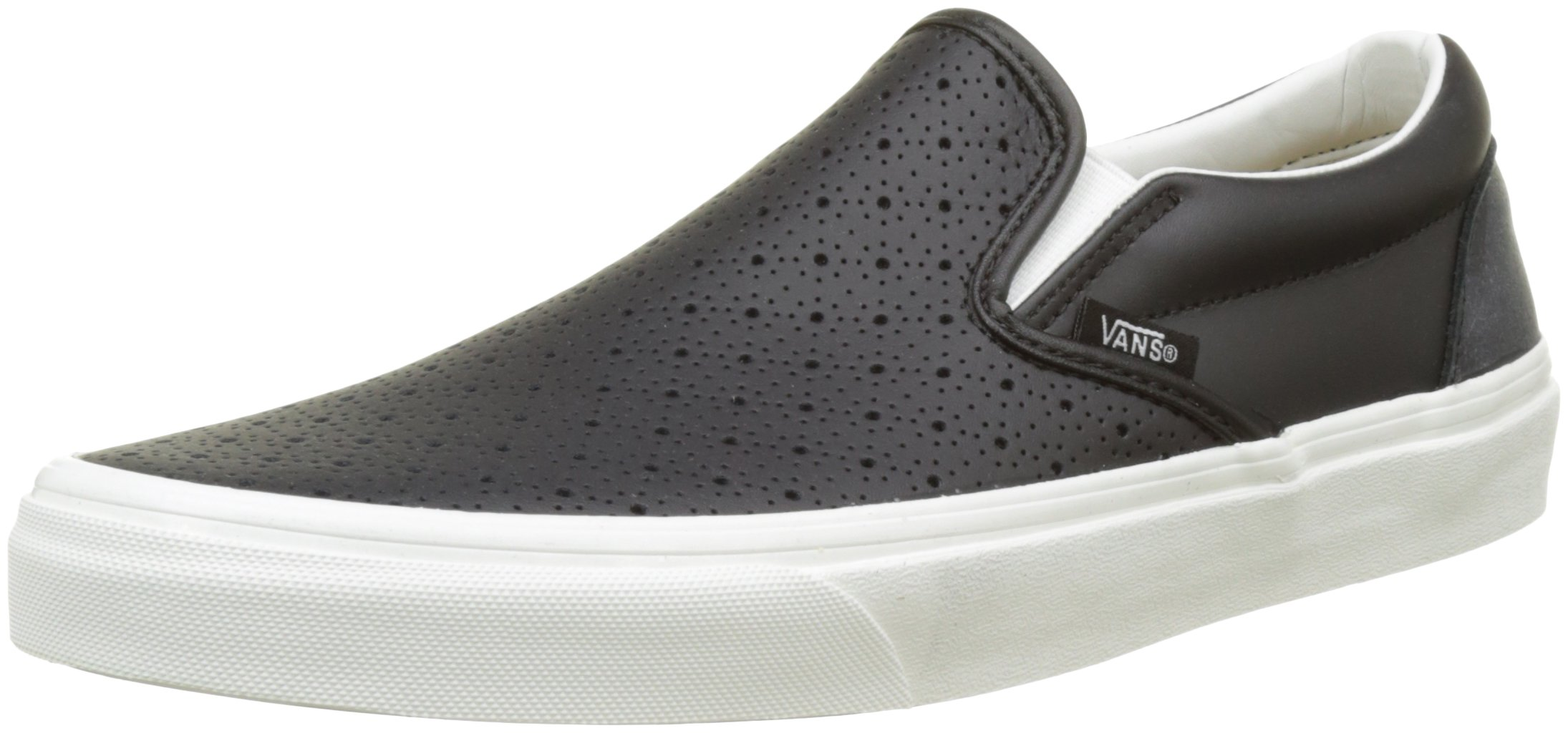 Vans Unisex Classic Slip-On (Leather Perf) Black Men's 6, Women's 7.5 Medium