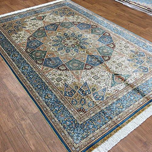 Yuchen New 6'x9′ Blue Great Persian Style Rugs Pure Silk Oriental Handmade Area Carpets (Sky Blue)
