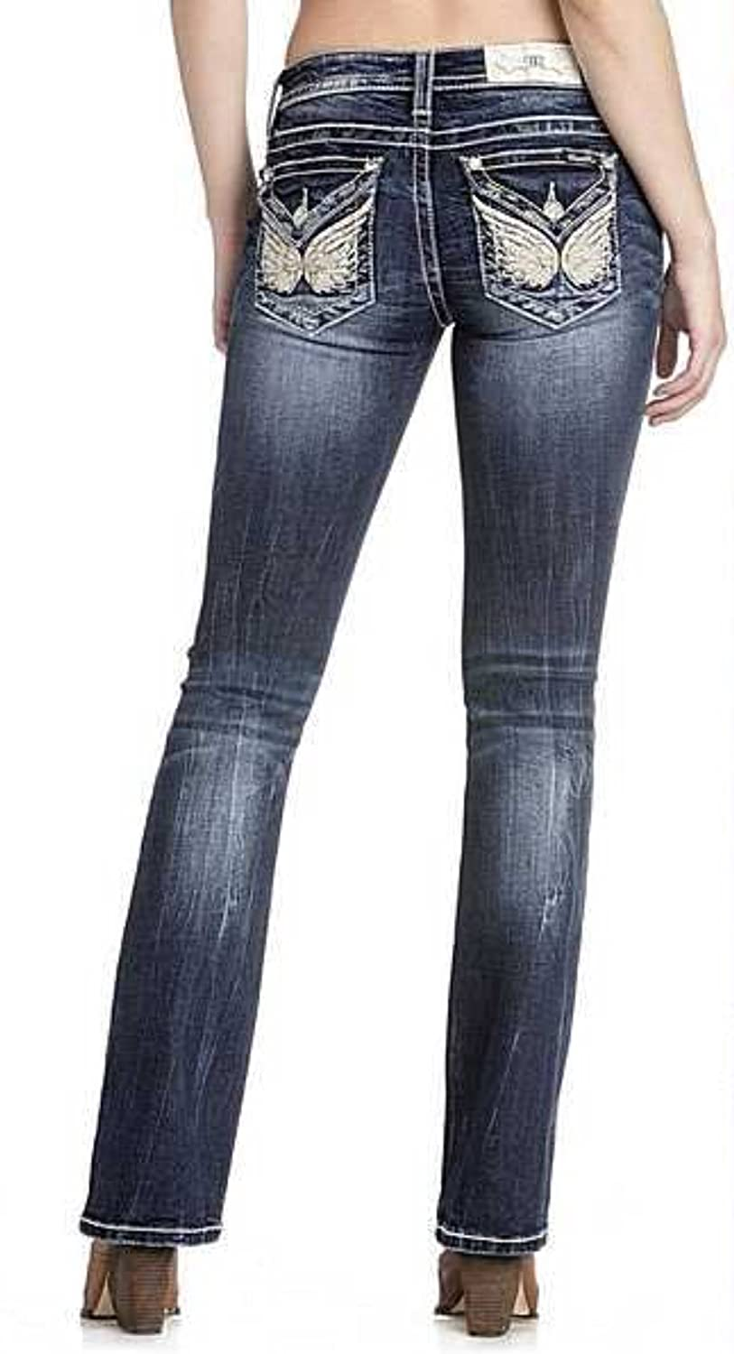 Miss Me Women's Mid-Rise Butterfly Boot Cut Jeans, M3224B