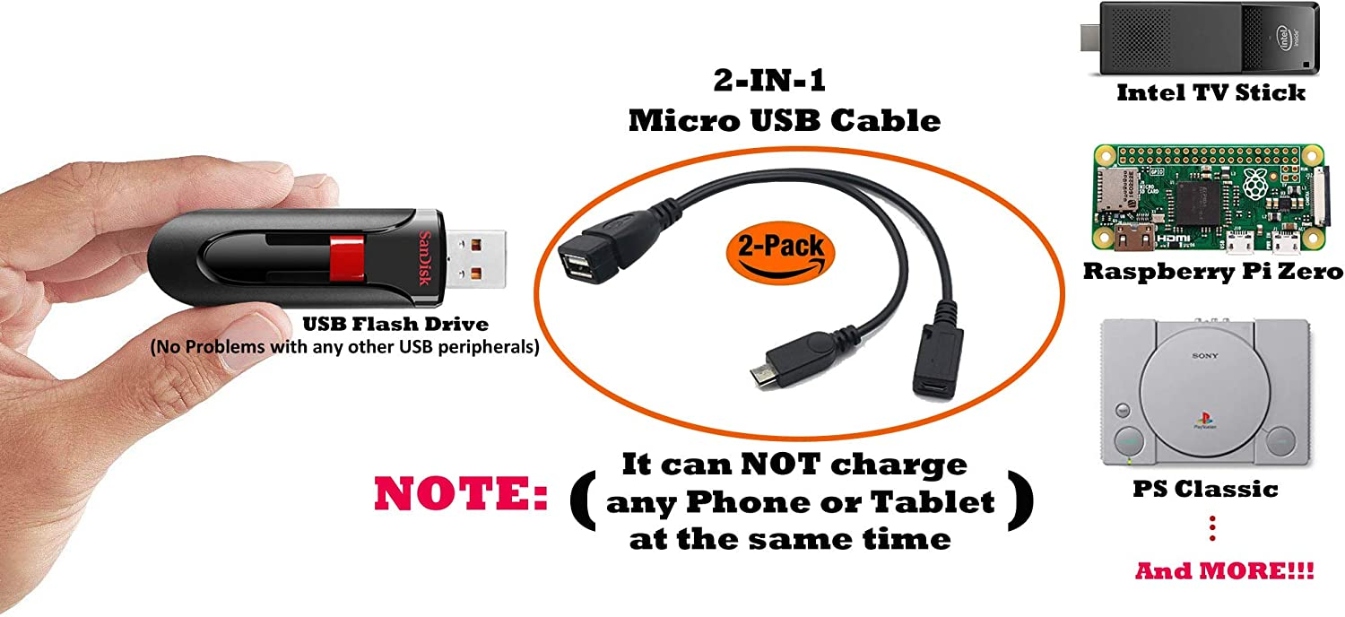 PRO OTG Power Cable Works for Gionee Pioneer P2S with Power Connect to Any Compatible USB Accessory with MicroUSB
