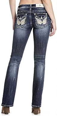 Miss Me Womens Mid-Rise Butterfly Boot Cut Jeans,