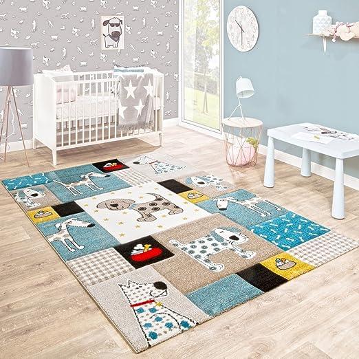 Paco Home Tapis pour Enfants Chambre D\'Enfant Contours Découpés Chiens  Univers Beige Bleu Couleurs Pastel, Dimension:Ø 120 cm Rond