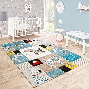 Paco Home Kinderteppich Kinderzimmer Konturenschnitt Hunde Welt Beige Blau  Pastellfarben, Grösse:80x150 Cm