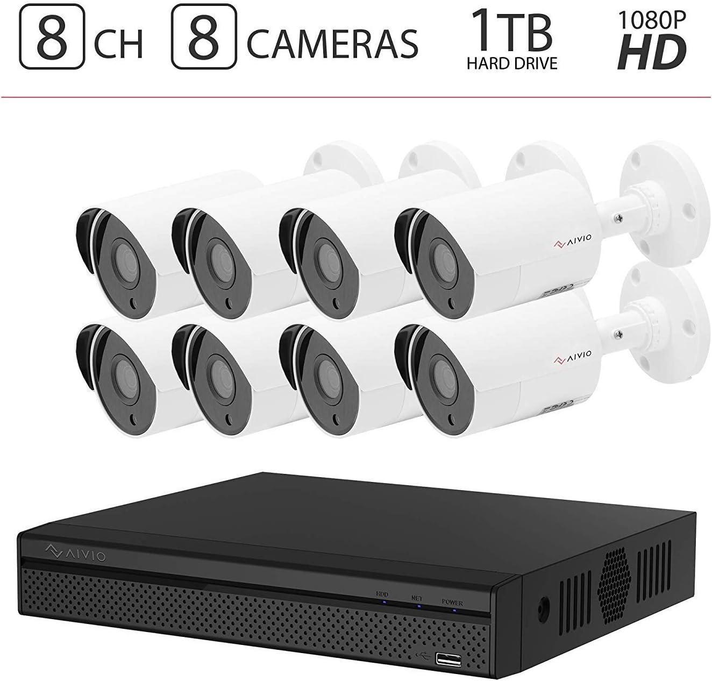 2019 Aivio Dahua OEM 1080P 8CH Home Security Camera System 1TB Hard Drive, Surveillance DVR kit w 8X HD 2MP 1920TVL HDCVI Outdoor IP67 Bullet Cameras 1T HDD XVR5108HS-S2 HAC-HFW1220S