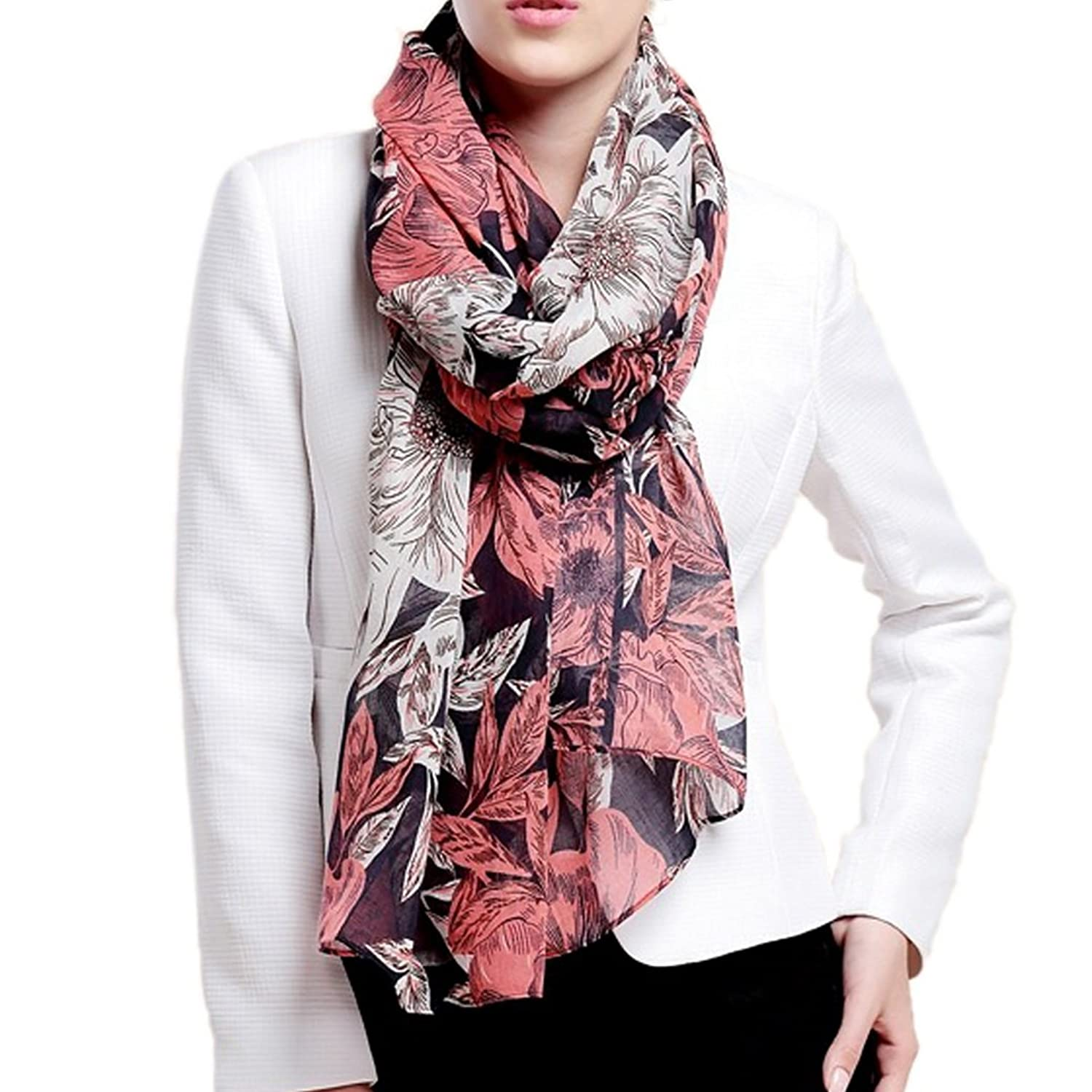 Tangda Women Girls Georgette Long Wrap Shawl Beach Silk Printing Flowers Scarf - Navy