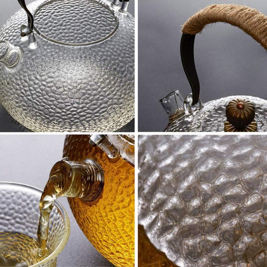 Taza de café Juego de té con patrón de martillo Un conjunto completo Botella de agua caliente Juego de té de vidrio Juego de té de té negro para el hogar ...