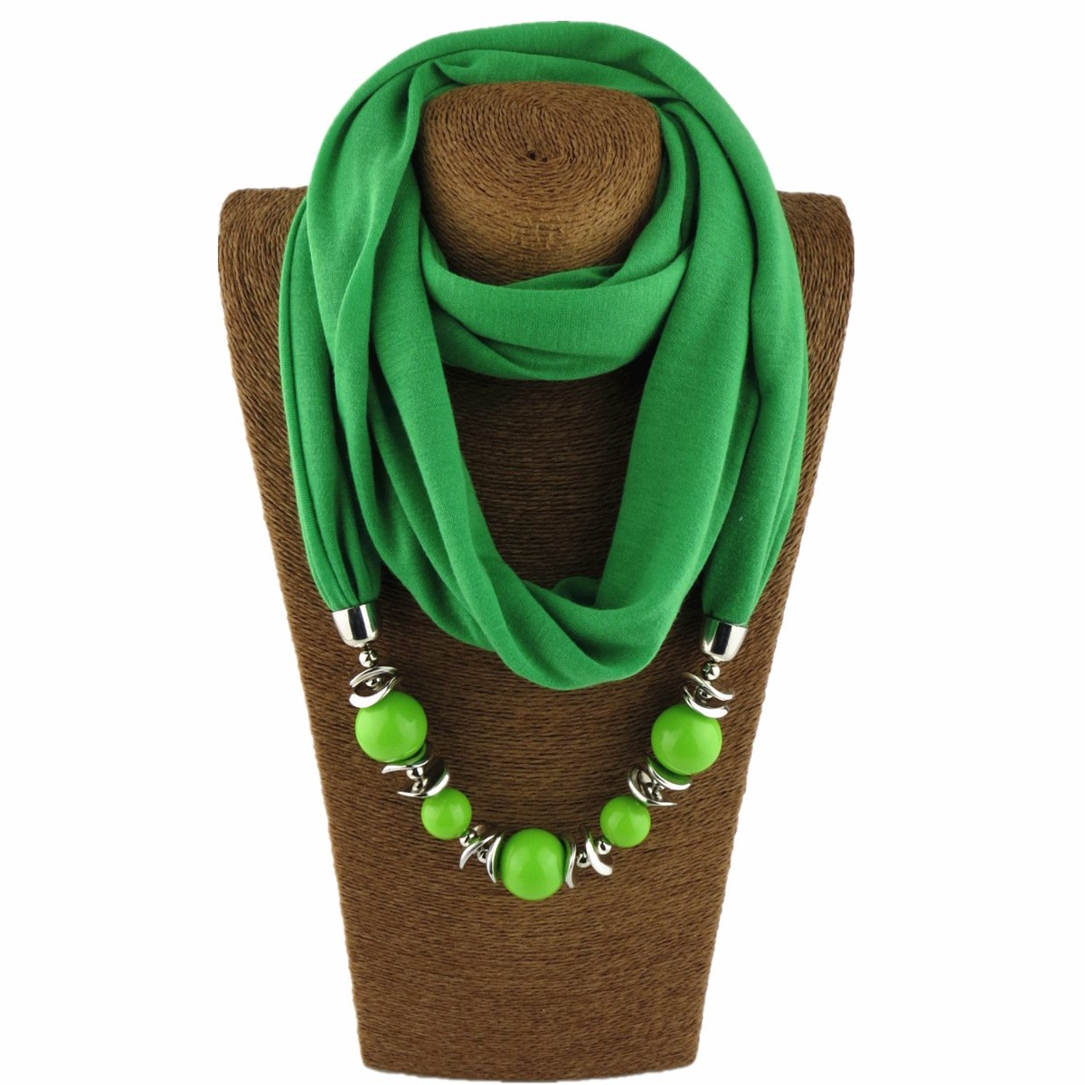 Classic Style Chiffon Necklace Sash Scarf with Jewelry Pendant (Green 8)