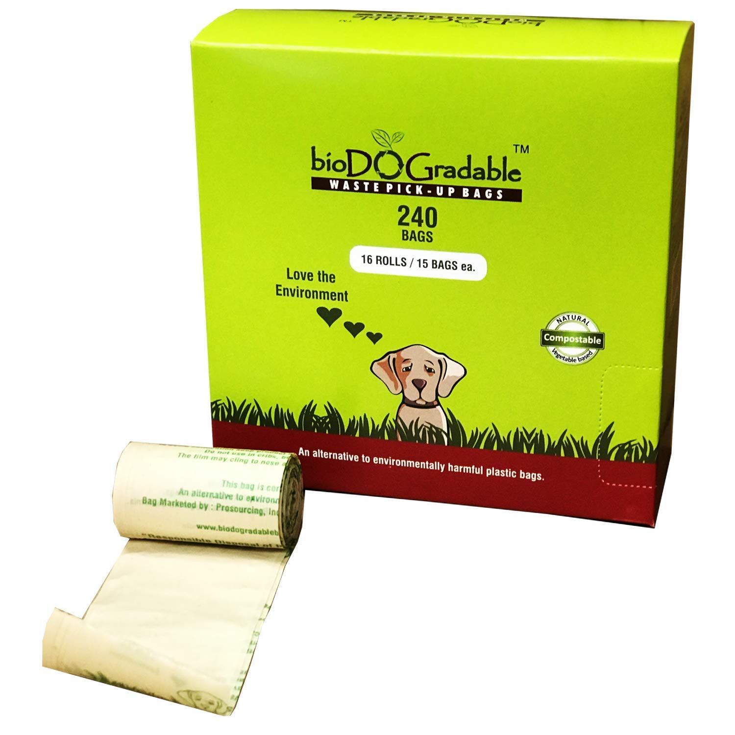 240 Dog Poop Waste Bags - Biodegradable Compostable Leak Proof and Tear Resistant - Vegetable Based Environmentally Friendly Pet Waste Bag - Plastic-Free - Holds Up to 4 Pounds by bioDOGradable WASTE PICK-UP BAGS