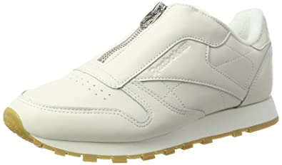 buy online 8b82f 69d80 Reebok Classic Leather Zip, Sneakers Basses Femme, Blanc (Chalk  Sandstone Silver