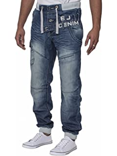 375ec8372c52c Eto Mens Cuffed Jeans Designer Jogger Jean Elasticated Waist 28-38