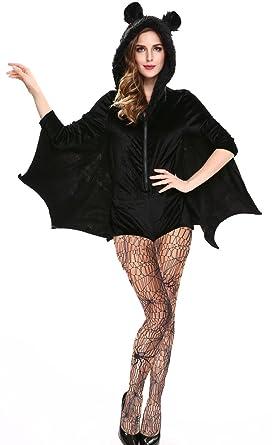 1b61dc947312 IYISS Women's Halloween Bat Costume Bodysuits With Pantyhose Stockings  (M=US Size S,