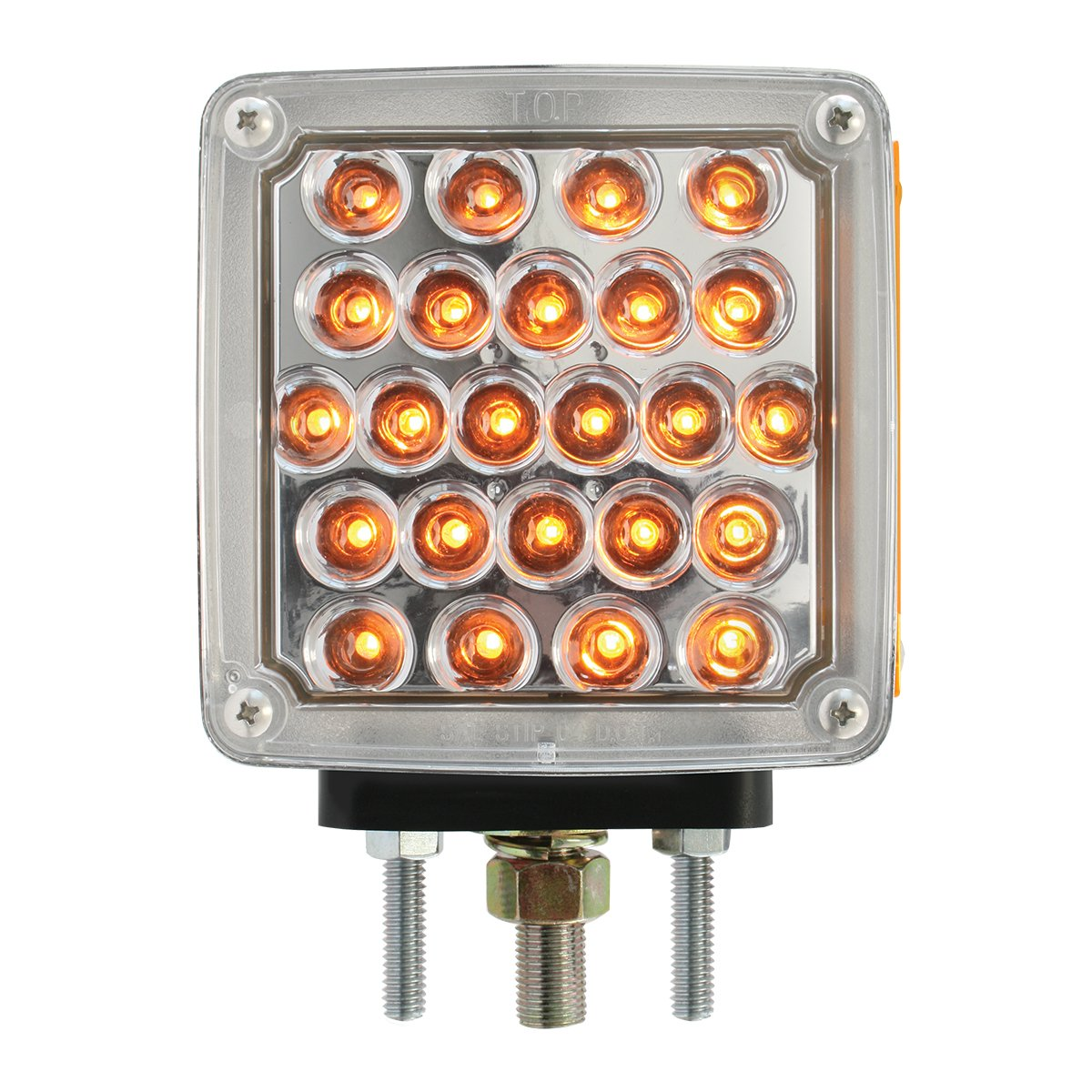 Grand General 77622 Amber/Clear 4.5'' Pearl Square Double Face LED Pedestal Light (for Truck/SUV/RV/Vehicle/Trailer)