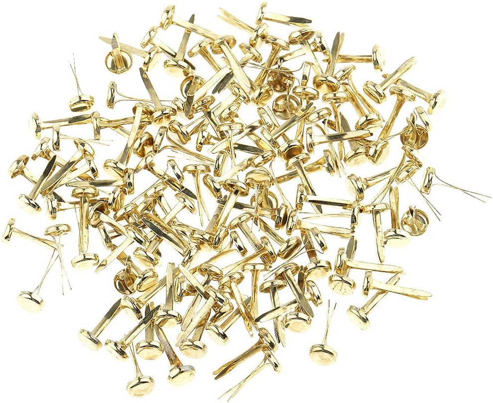 Ogquaton 200 Pieces Mini Gold Iron Brad Paper Fasteners for Scrapbooking Embellishment Paper Craft 8mm New Released