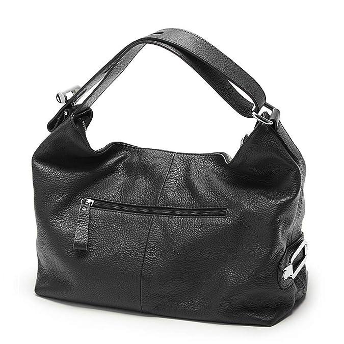 f35729b06d2f2f Zency 6 Colors Fashion 100% Real Genuine Leather Women Shoulder Bag OL  Style Handbag Lady Casual Tote (Black): Handbags: Amazon.com