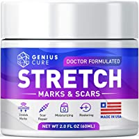 Stretch Marks & Scars Defense Cream Daily Moisturizer w Organic Shea Butter + Plant Oils + Vitamins to Prevent, Reduce and Fade Away Old or New Scars Best for Pregnancy 2oz