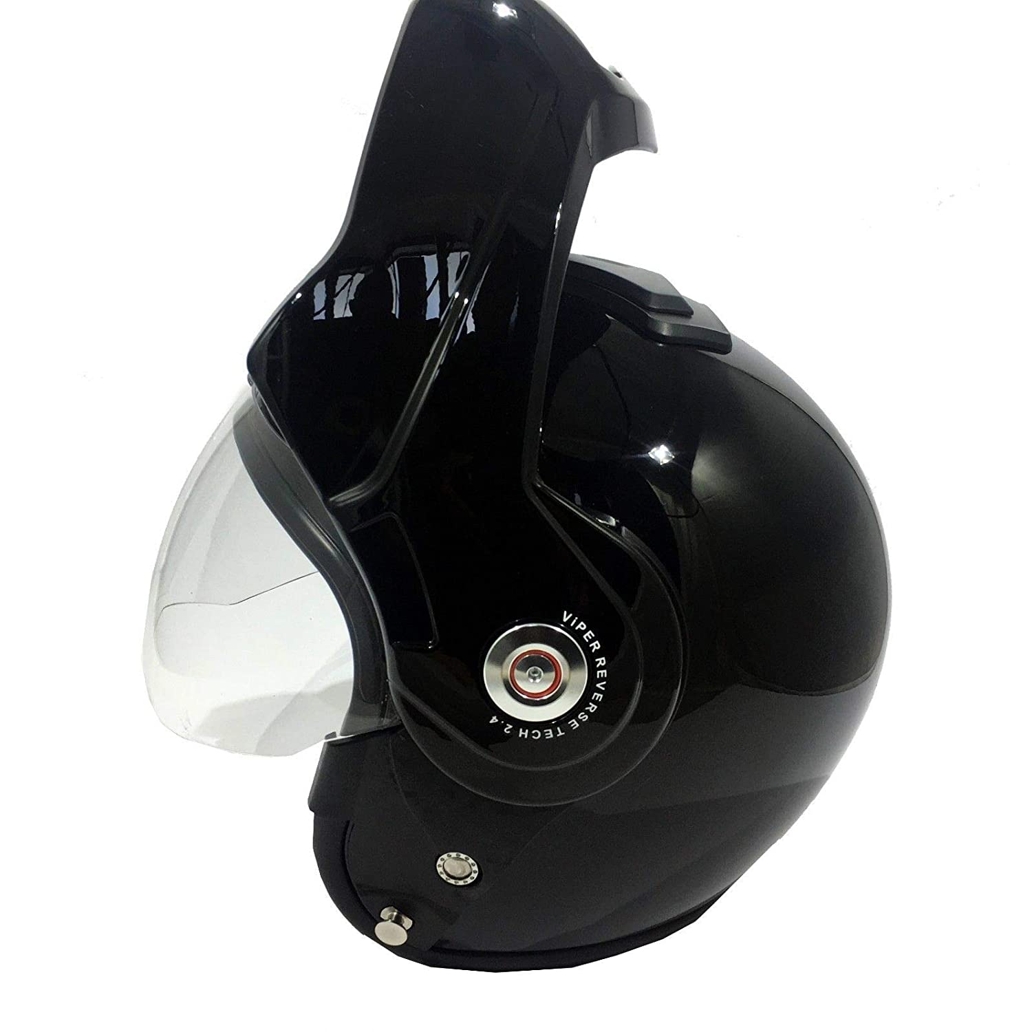 GLOSS BLACK NEW ADULT MOTORBIKE VIPER RS202 REVERSE FLIP FRONT CRASH HELMET Motorcycle Moped Scooter Touring Sports Racing ECE Approve Open Full Face Modular Helmet