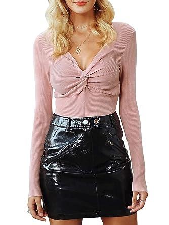 919428565faf48 Season 4 Womens Sexy Criss Cross V Neck Sweater Slim Long Sleeve
