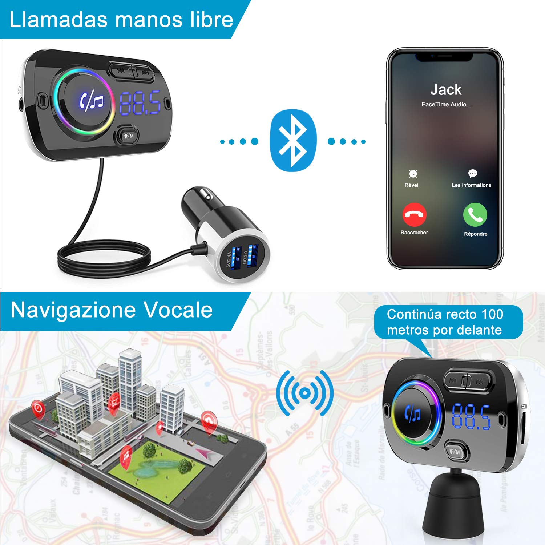 SIRI//Google con Luz Colorida Reproductor MP3 Coche Carga Rapida QC3.0 Transmisor FM Bluetooth 5.0 Coche Manos Libres 2 USB Portes 5V//3A y 2.4A Apoyo Tarjeta TF AUX