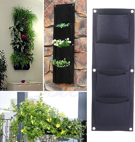 Plantas de plantación Jardinera vertical Jardinera de pared Jardinera de 4 bolsillos Bolsas de cultivo Bolsa de plantas Colgante Maceta Contenedor para patios Balcones Jardín Interior y exterior: Amazon.es: Jardín