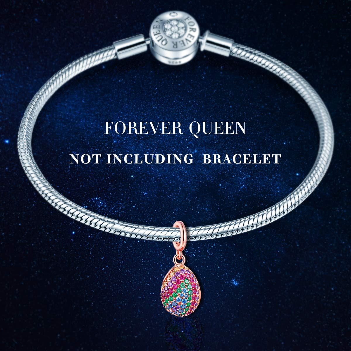 FOREVER QUEEN Rainbow Charm pour Bracelet /à Breloques Argent Sterling 925 Et ajour/é Perles color/é Charm avec Poisson Oxyde de Zircon Pierre,