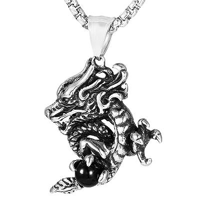 DonDon Collier homme en acier inoxydable avec pendentif en forme de dragon  dans une pochette en 9b1cc282ab8f