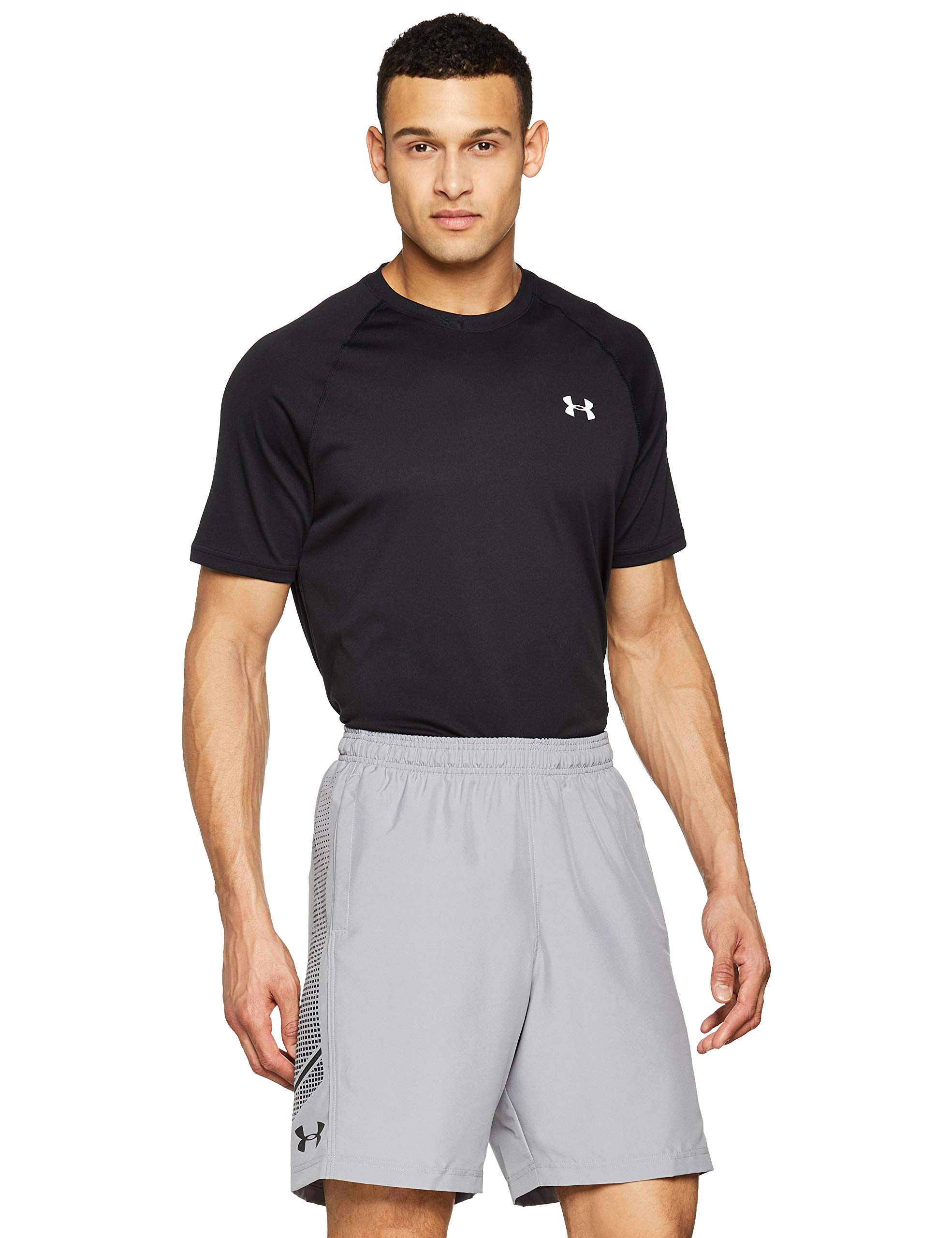 Under Armour Men's Woven Graphic Shorts, Steel (035)/Black, Small by Under Armour