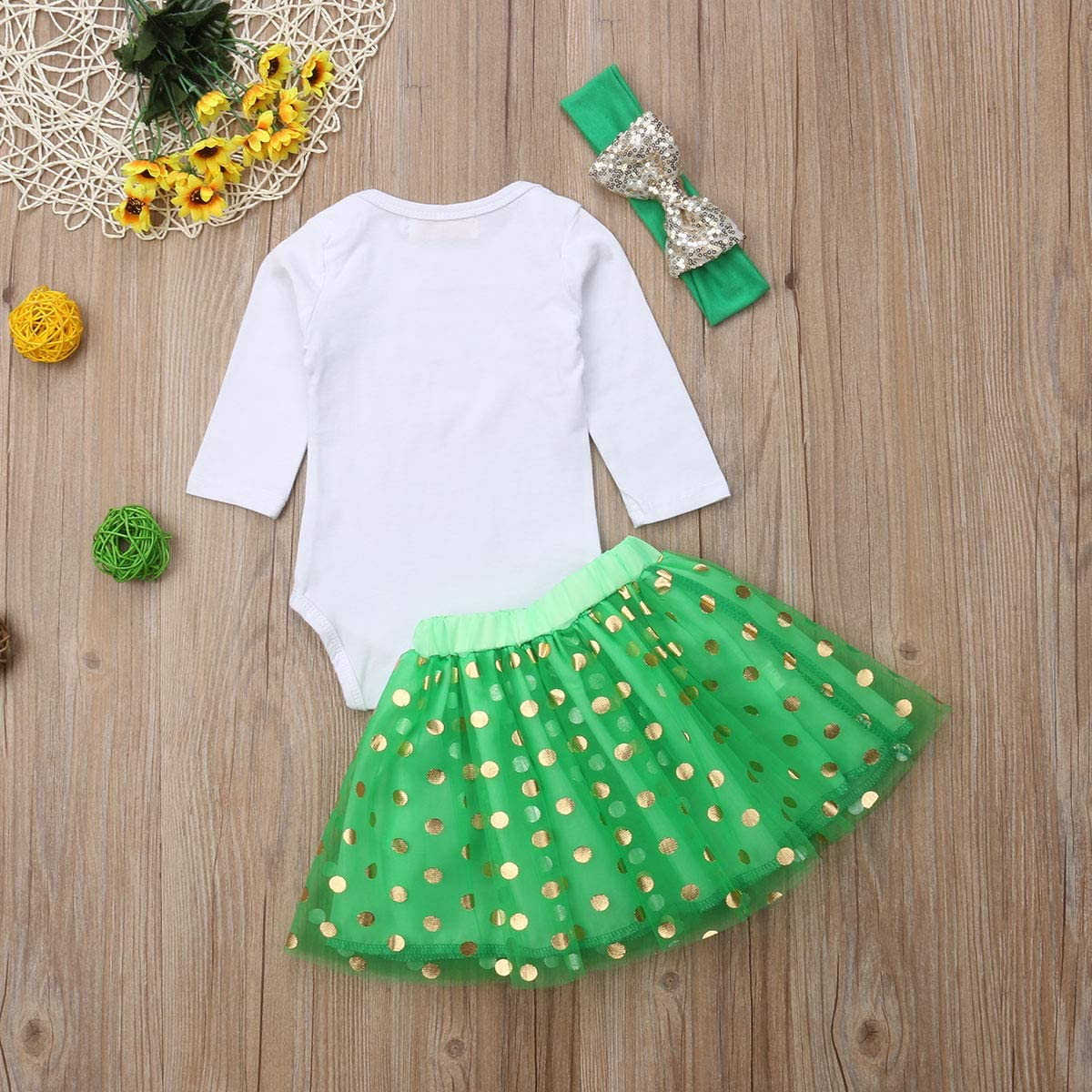 Guyay 3PCS Baby Girl Christmas Romepr Tutu Skirt Outfits Xmas Long Sleeve Bodysuit Skirt Outfits with Headband