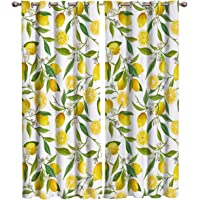 Shine-Home Window Curtains with Gromments Kitchen Drapes, Yellow Lemons Natural Furit and Green Leaves Pattern, 2 Panels…