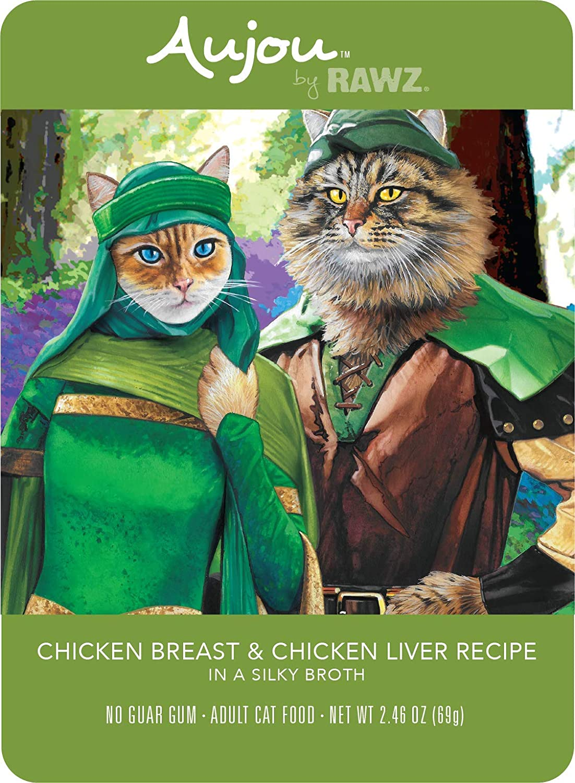 Rawz Aujou Chicken Breast & Chicken Liver Cat Food 8/2.46 oz Pouches