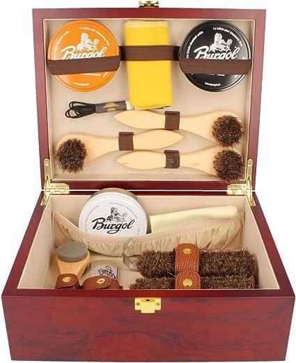 burgol Caja limpieza Zapatos Caja de Zapato de brillo de madera schuhpflegeset 15 Piezas: Amazon.es: Ropa y accesorios